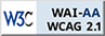 WCAG WAI-AA logo and link to Xerte accessibility statement
